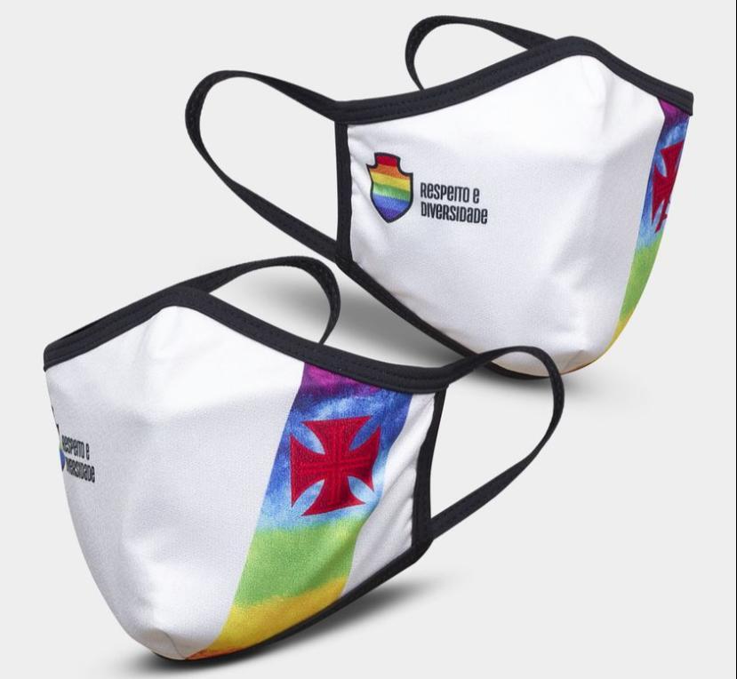 Máscara Vasco Respeito e Diversidade LGBTQIA+ - Branca