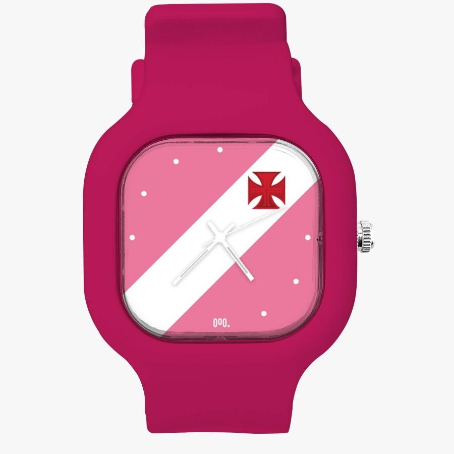 Relógio Vasco Rosa + Pulseira Silicone Queen