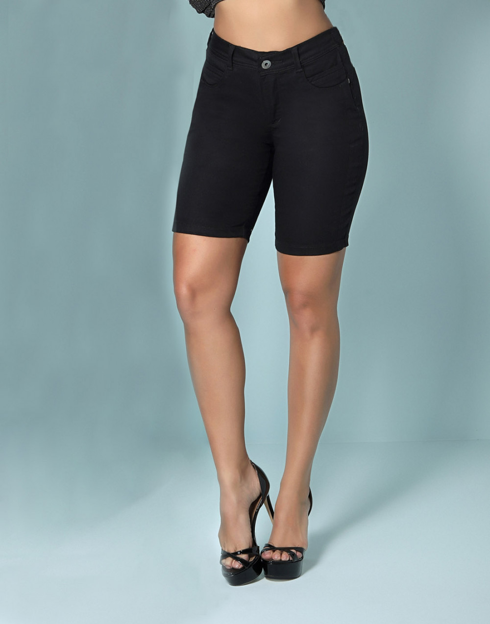 Bermuda Ciclista Modeladora Cintura Média Set Jeans