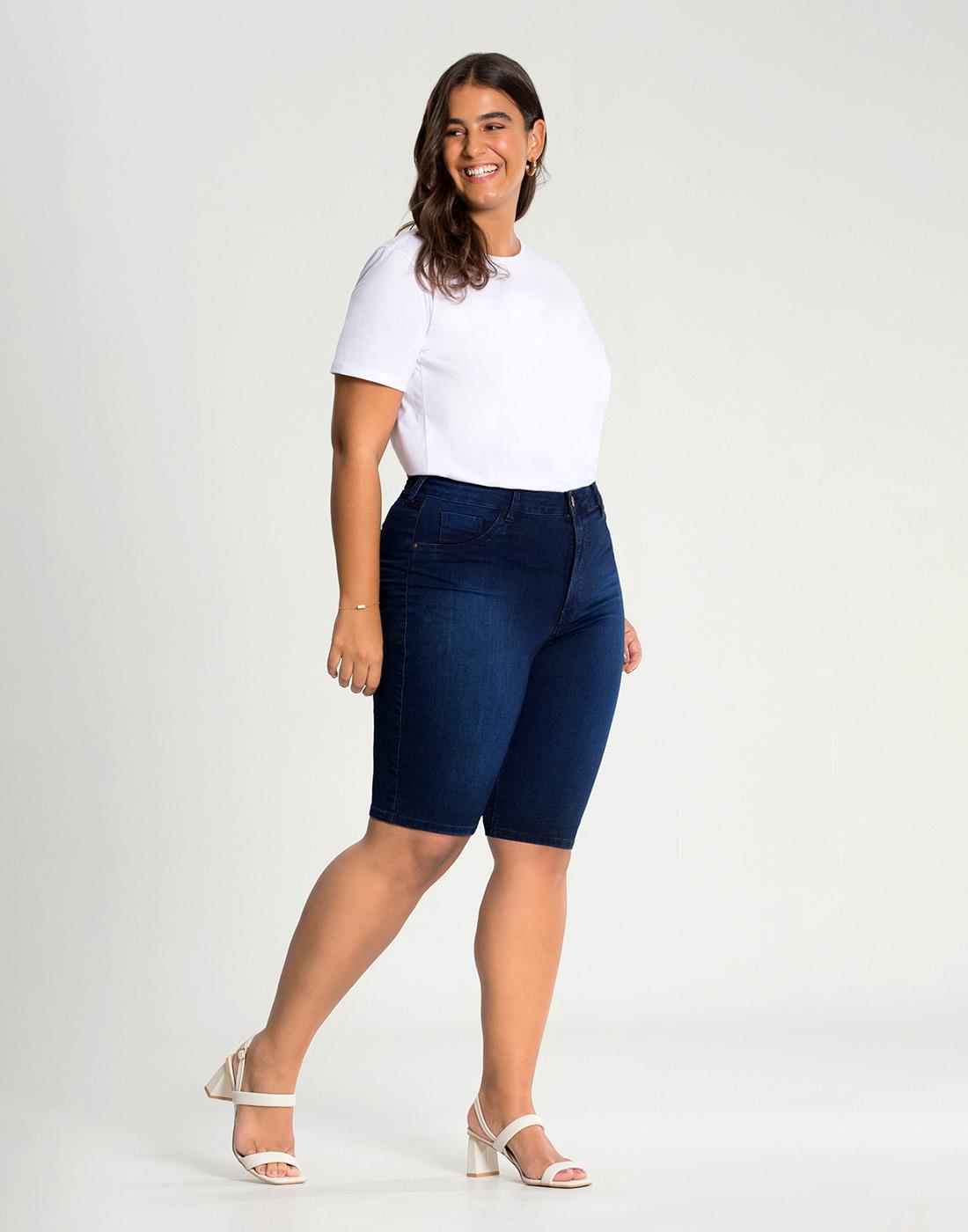 Bermuda Jeans Ciclista Cint. Media Fit For Me Lunender Mais Mulher
