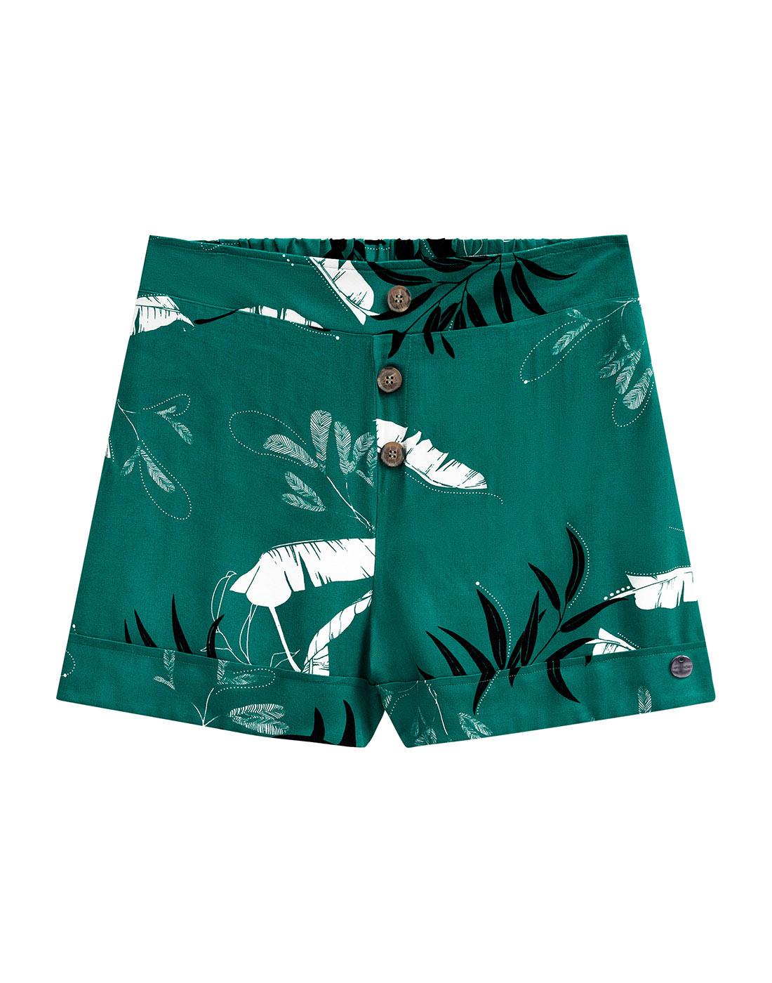 Bermuda Tecido Rayon Twill Verde Provence Lunender Mais Mulher