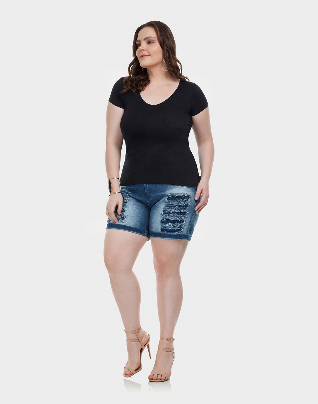 Blusa Básica Mullet com Bolso Plus Size Malha Viscose Lunender Mais Mulher