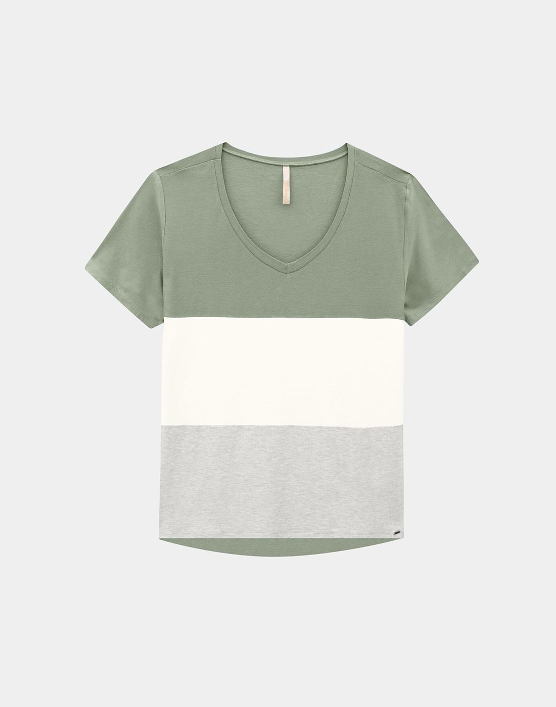 Blusa Decote V Plus Size Malha Crepe Verde Mineral Lunender Mais Mulher