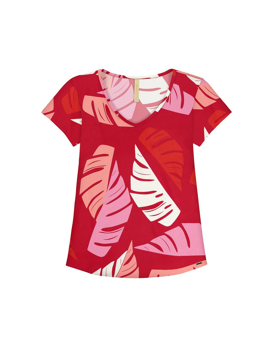 Blusa Estampada em Malha MVS Thirty Plus Vermelho Nobre Lunender