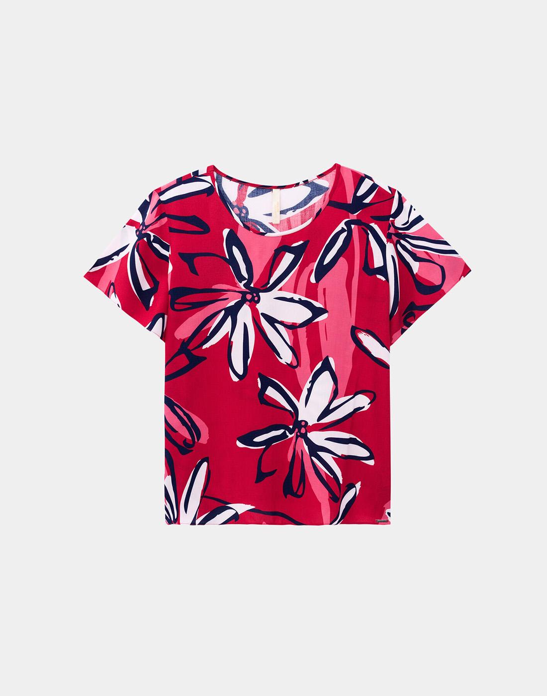 Blusa Estampada Plus Size Tecido Rayon Vermelho Natty Lunender Mais Mulher