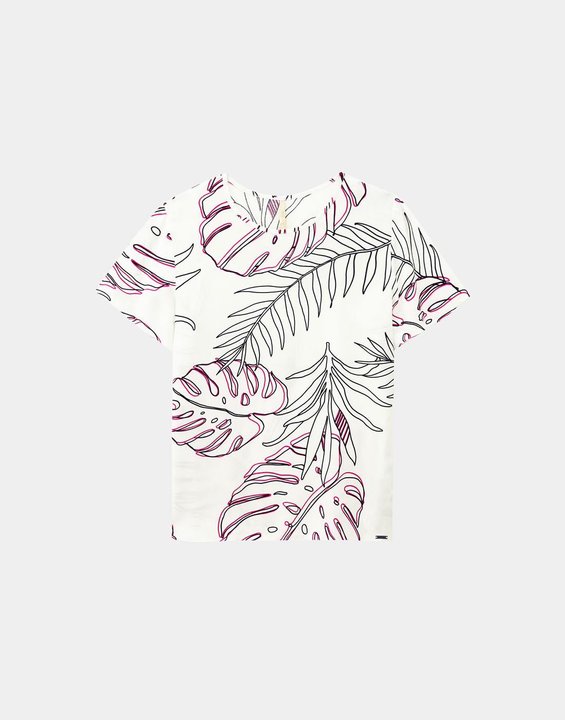 Blusa Estampada Tecido Rayon Branco Off White Lunender