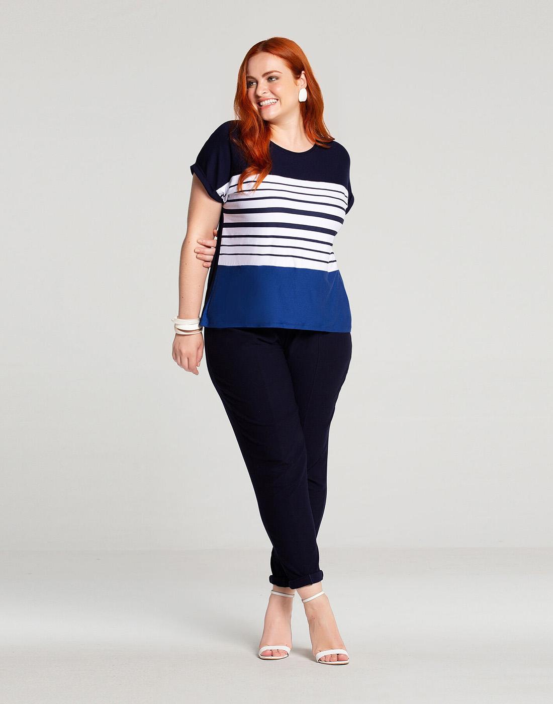 Blusa Listras Plus Size Malha Viscose Lunender Mais Mulher