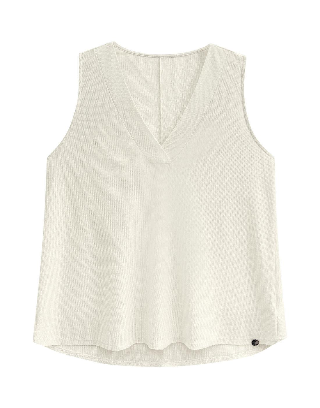 Blusa Malha Eccentric Shine Off White Lunender Mais Mulher