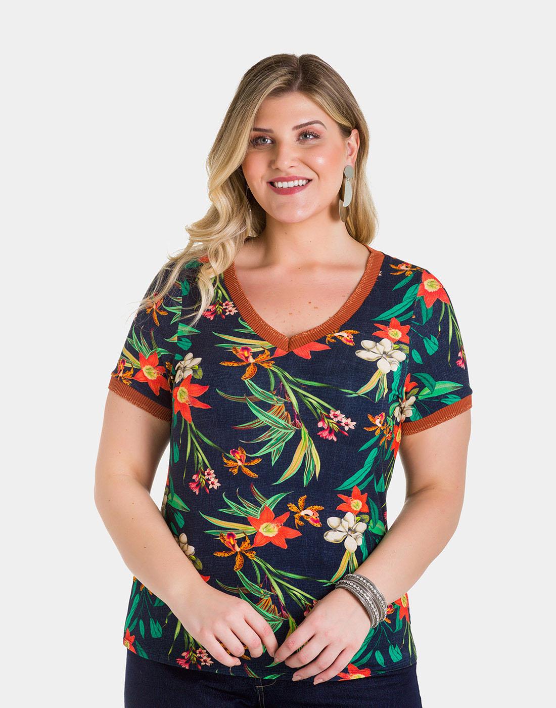 Blusa Malha MVS Thirty Plus Marinho Action Lunender Mais Mulher