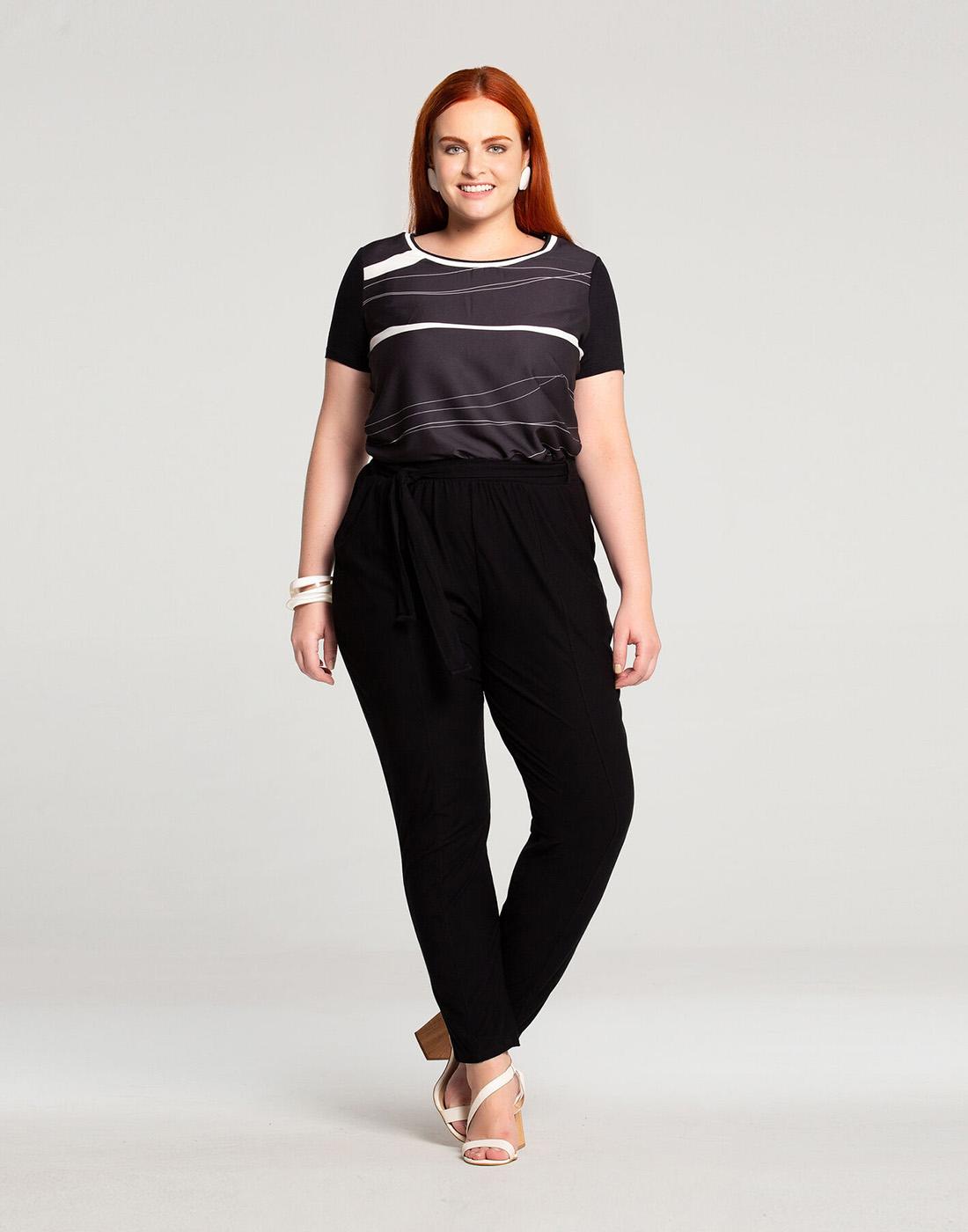 Blusa Plus Size Tecido Crepe e Malha Viscose Preto Reativo Lunender Mais Mulher