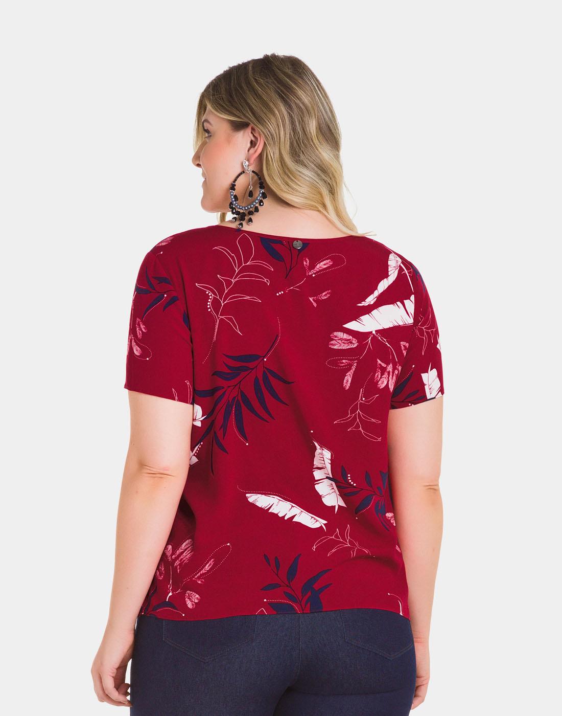 Blusa Tecido Rayon Bali Vermelho Lunender Mais Mulher