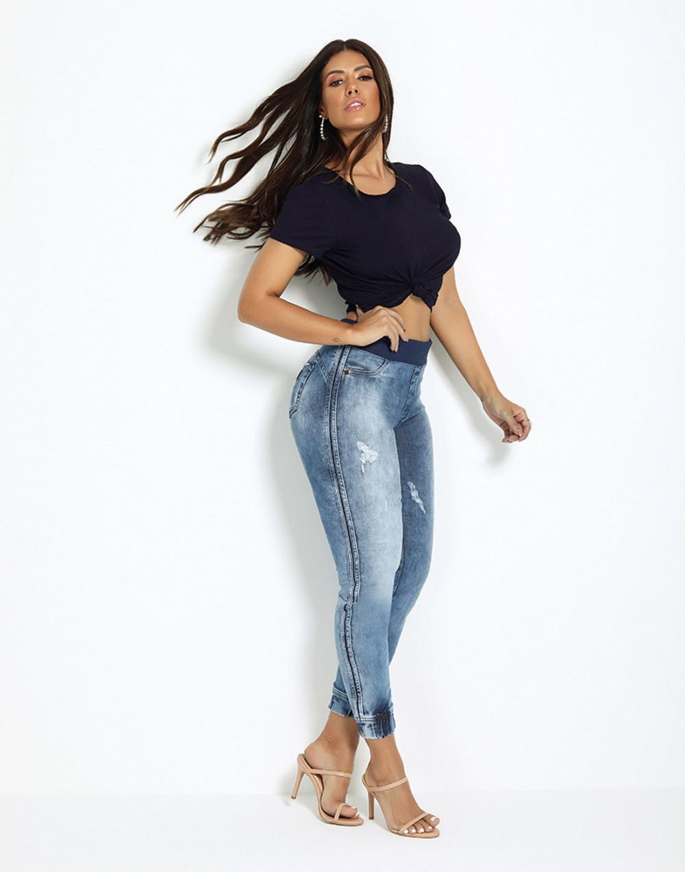 Calça Cigarrete Skinny Cintura Média Set Jeans