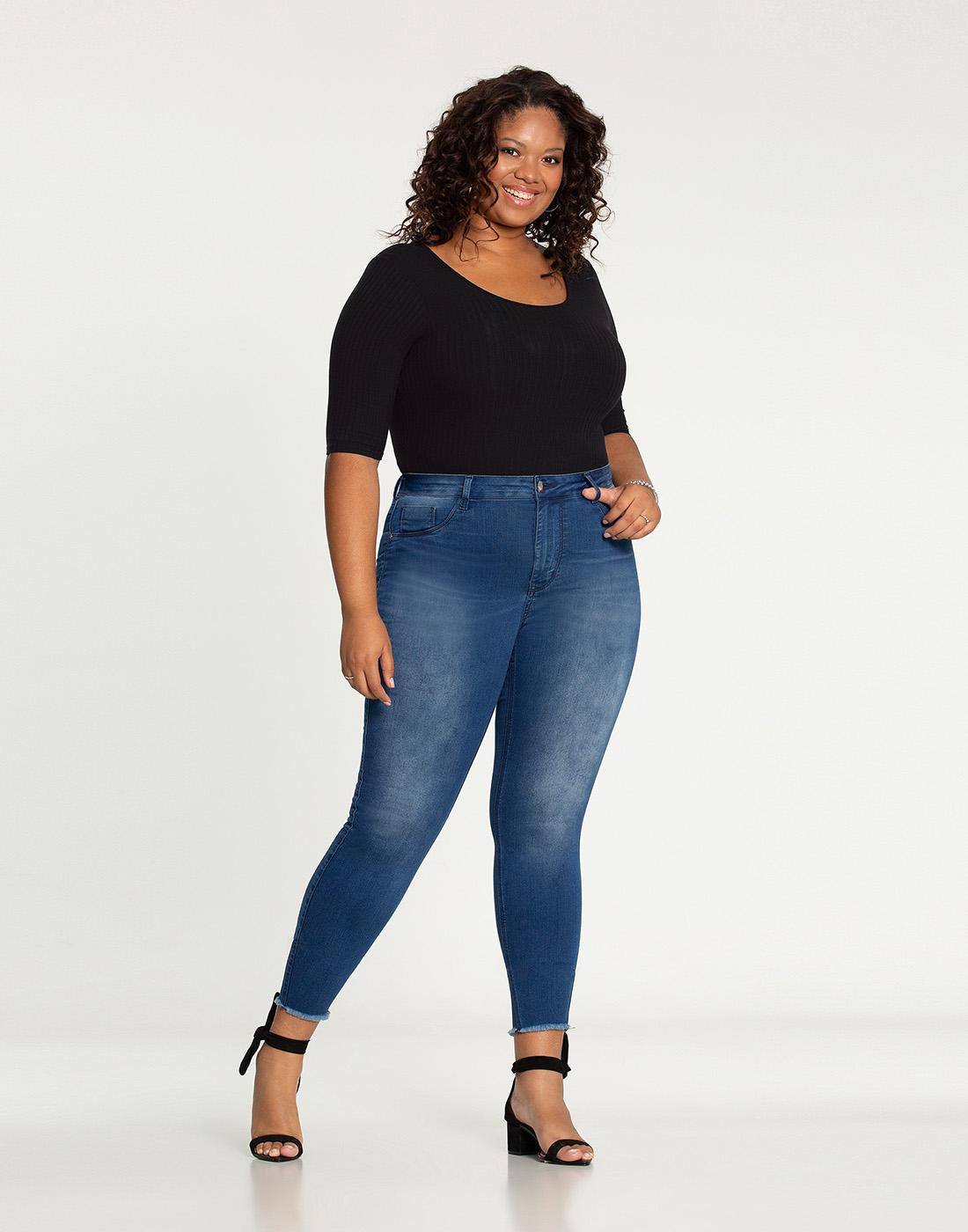 Calça Cropped Plus Size Fit For Me Jeans Médio Lunender Mais Mulher