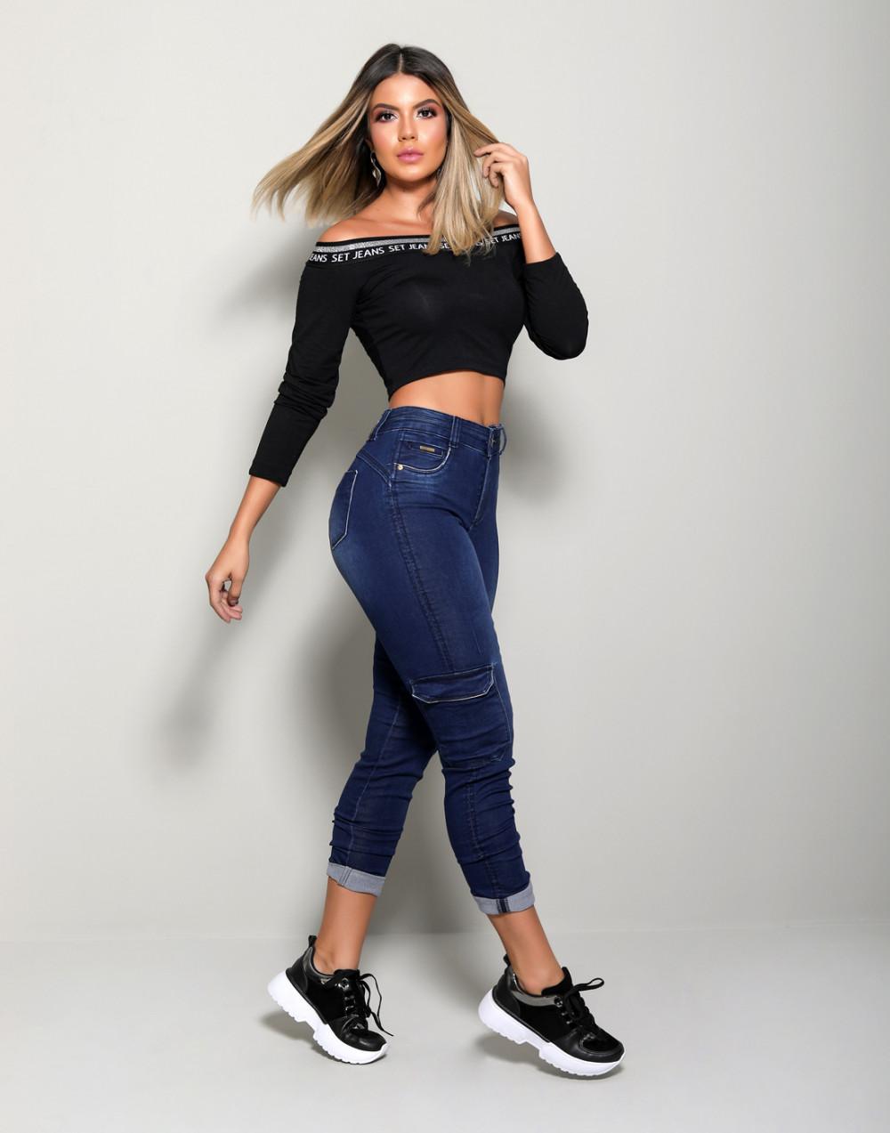 Calça Jeans Cargo Skinny Set Jeans