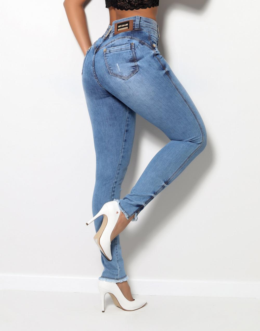 Calça Jeans Cigarrete Luxo Cintura Média Set Jeans