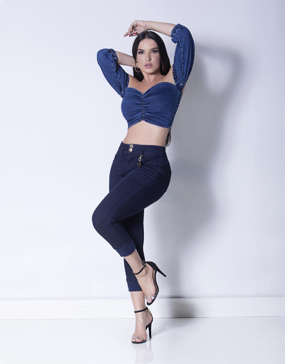 Calça Jeans Cropped Cintura Média Set Jeans