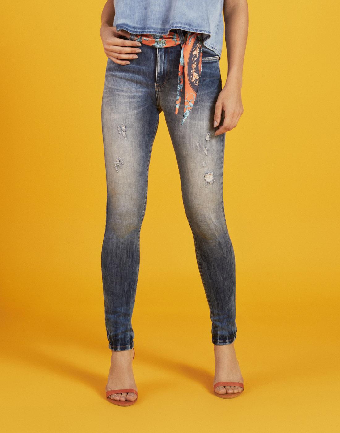 Calça Jeans Fem. Destroyer Skinny c/ Cinto Six One