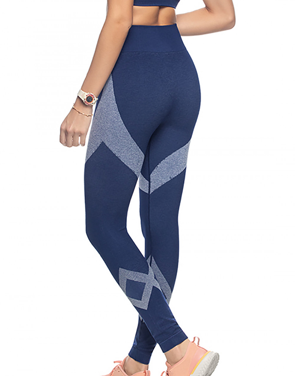 Calça Legging Fitness Sem Costura Marinho Zee Rucci