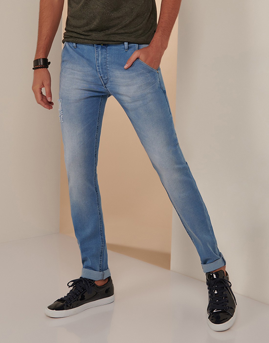 Calça Masc. Skinny Jeans Destroyer Six One