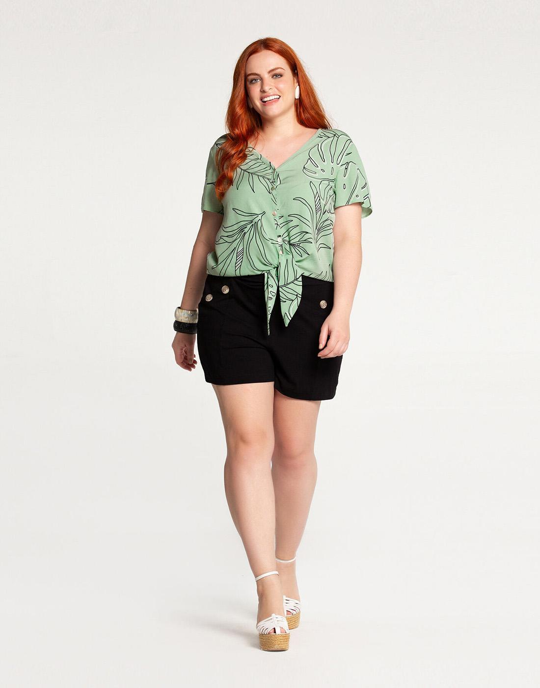 Camisa com Amarração Plus Size Tecido Rayon Verde Folletto Lunender Mais Mulher
