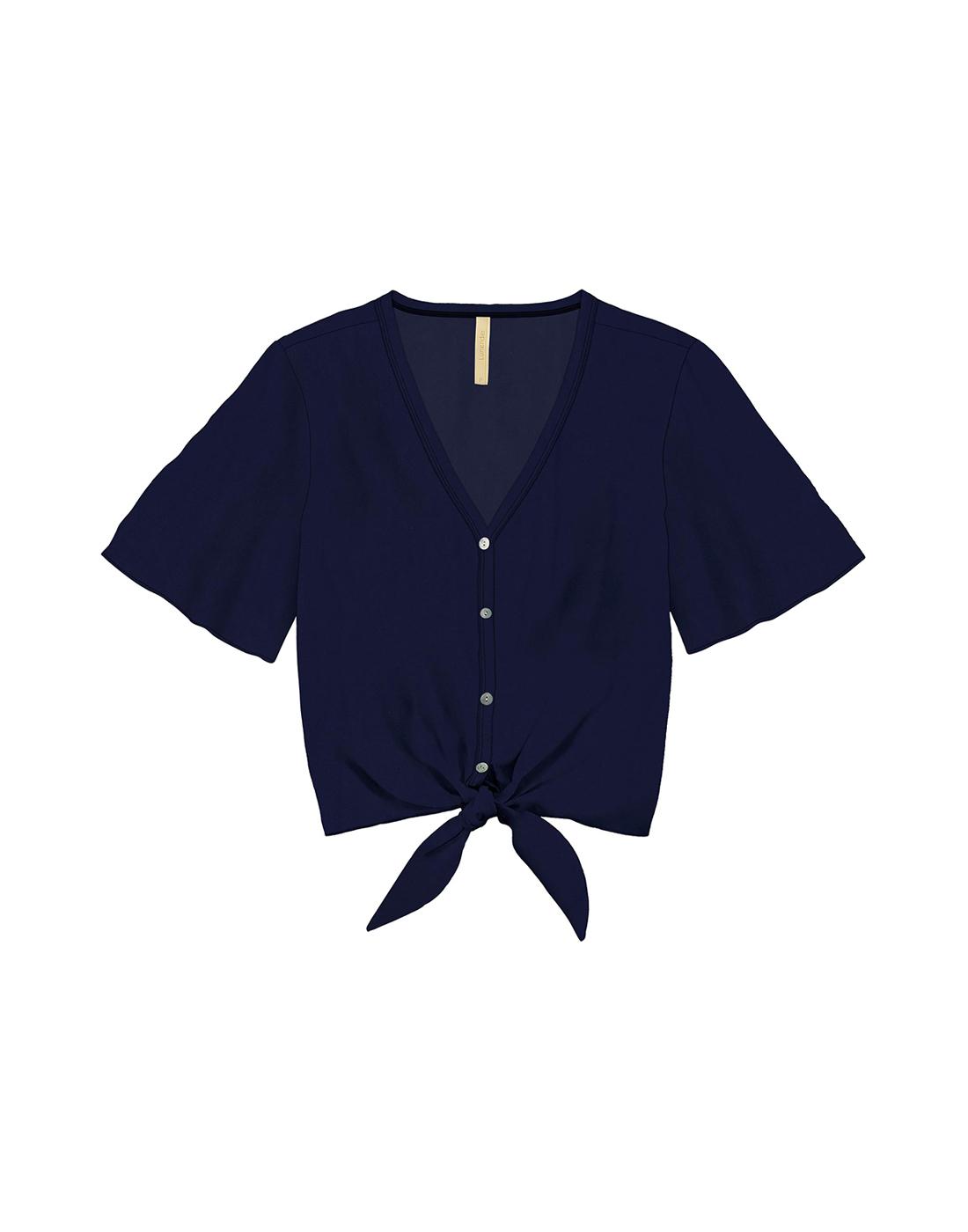 Camisa em Tecido Rayon Marinho Action Lunender