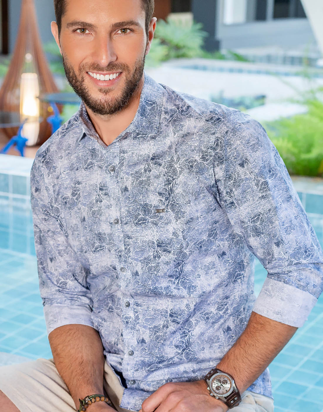 Camisa Manga Curta Estampada Azul - Baumgarten BGT