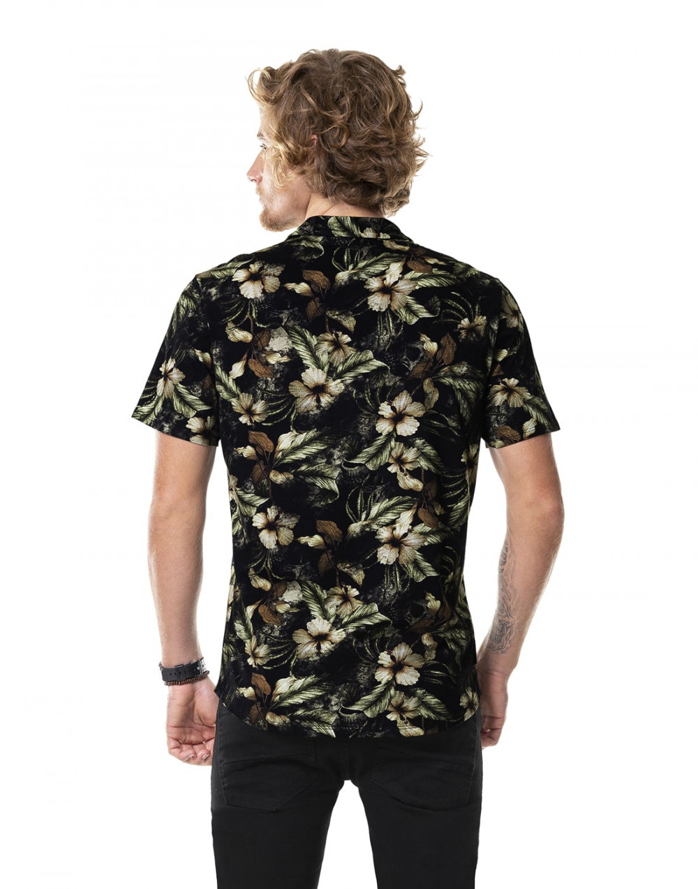 Camisa Manga Curta Meia Malha Estampada Preto Fico