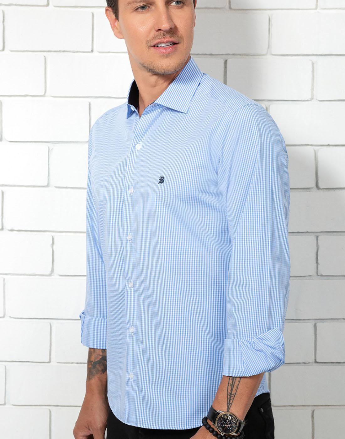 Camisa Manga Longa Estampada Azul Baumgarten Elegance