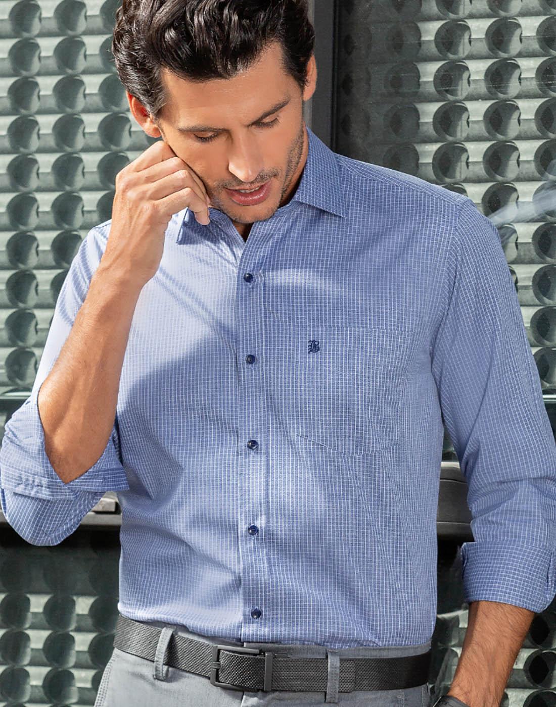 Camisa Manga Longa Estampada Azul - Baumgarten Premium