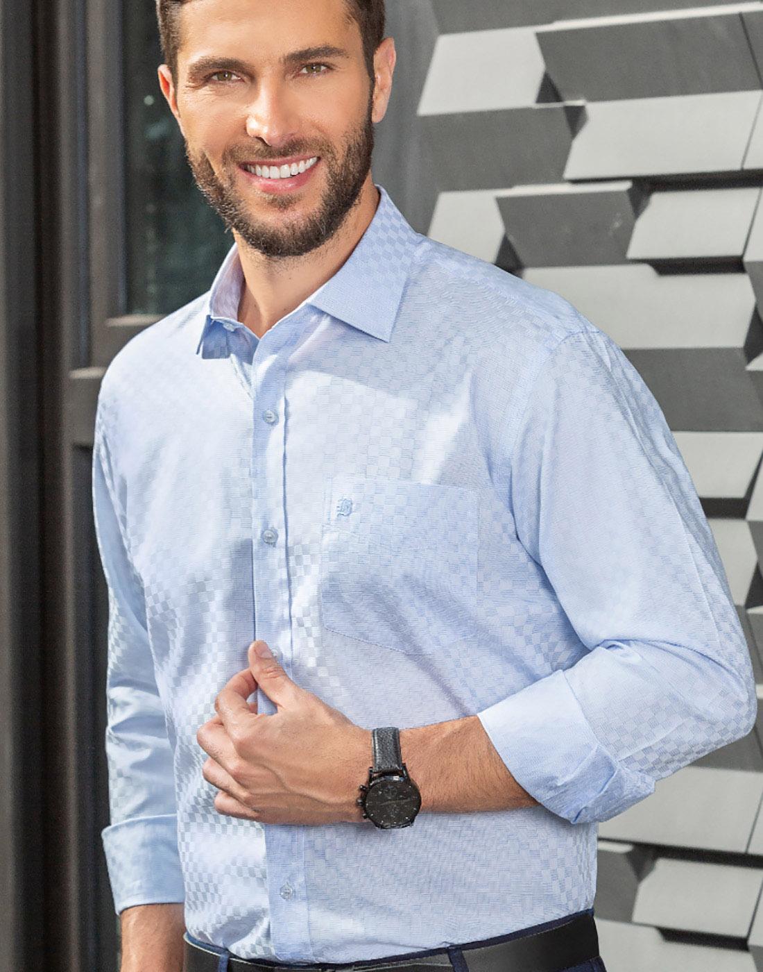Camisa Manga Longa com Bolso Estampada Azul - Baumgarten Premium