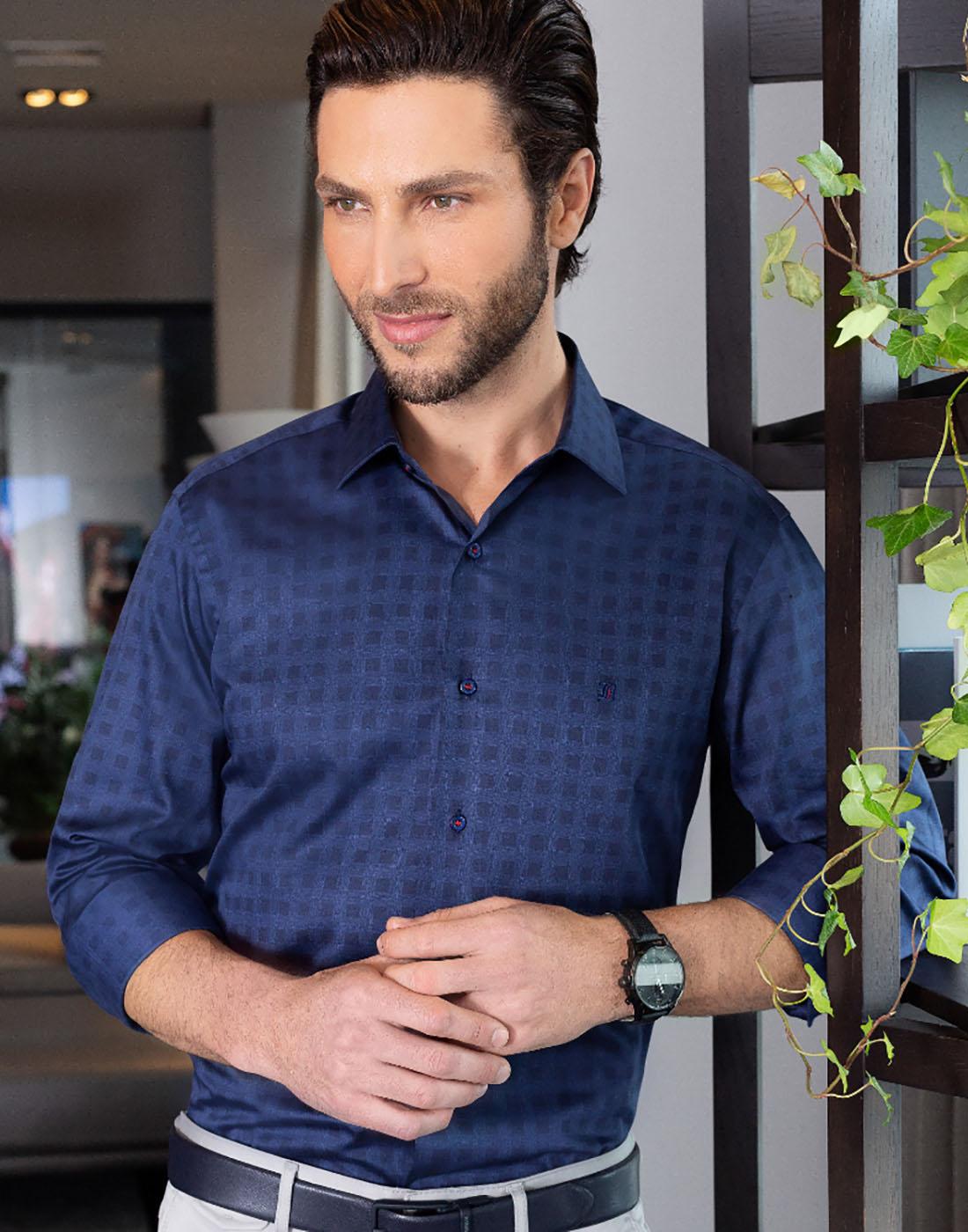 Camisa Manga Longa Estampada Azul Marinho Baumgarten Elegance