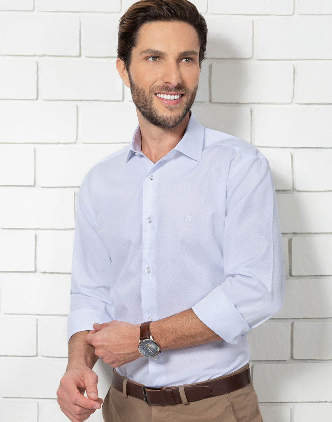 Camisa Manga Longa Estampada Branco Baumgarten Elegance