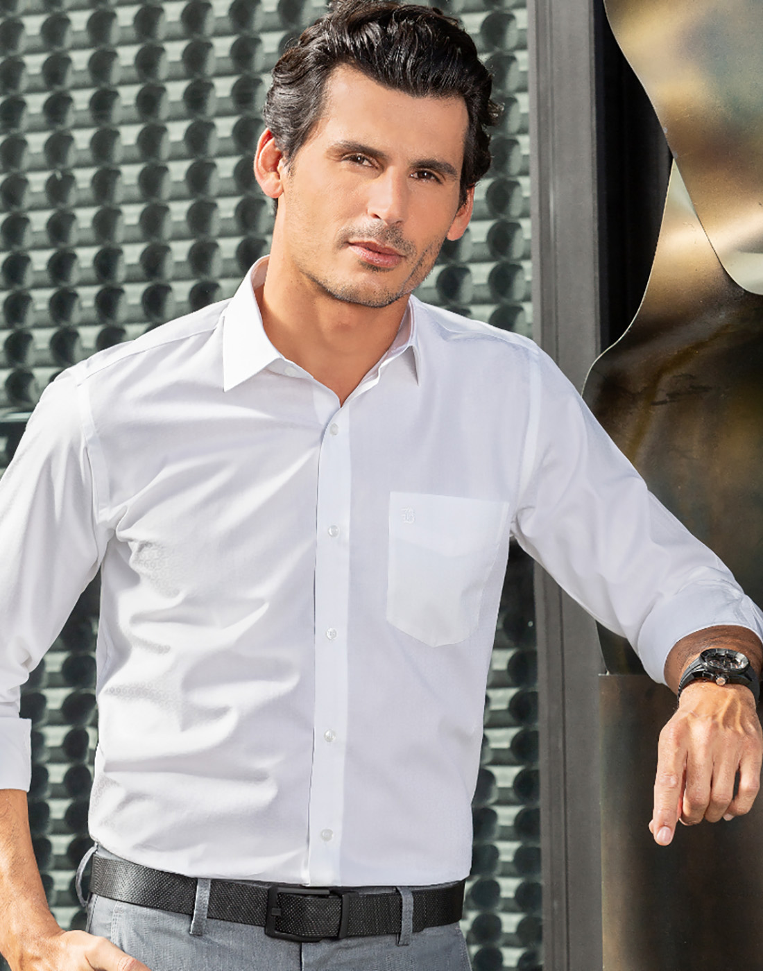 Camisa Manga Longa com Bolso Lisa Branco - Baumgarten Premium