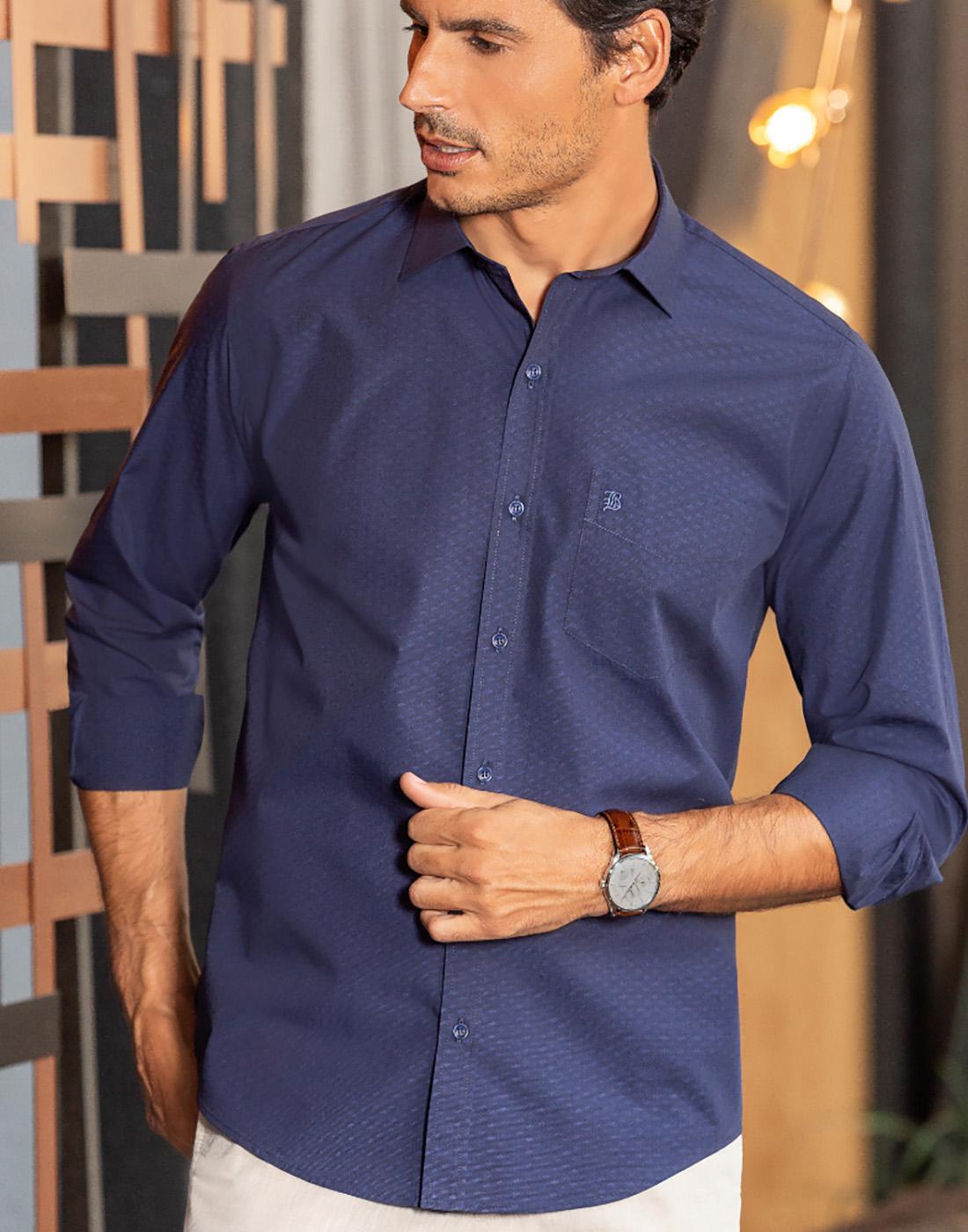 Camisa Manga Longa Estampada com Bolso Marinho - Baumgarten Premium