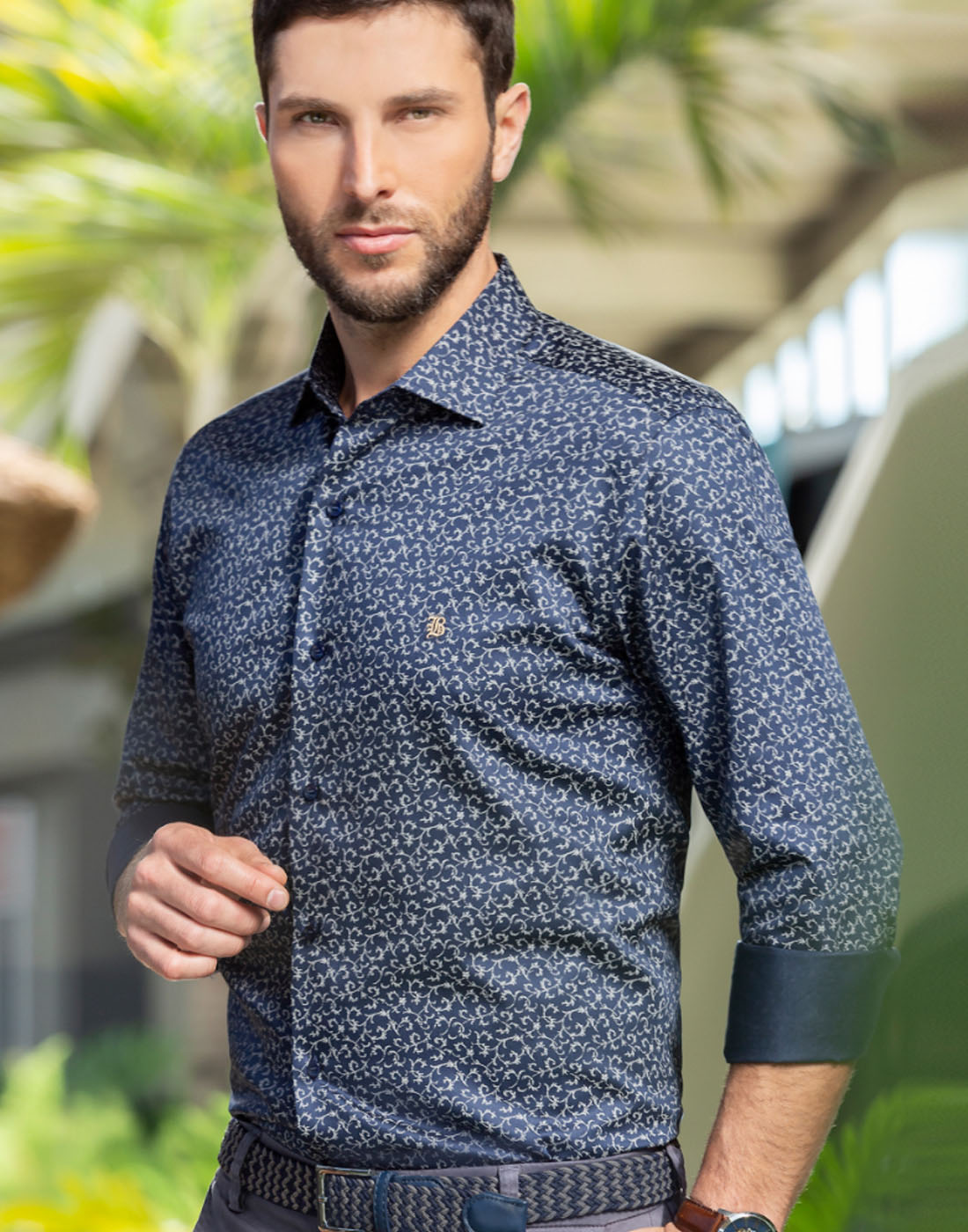 Camisa Manga Longa Estampada Marinho - Baumgarten Elegance
