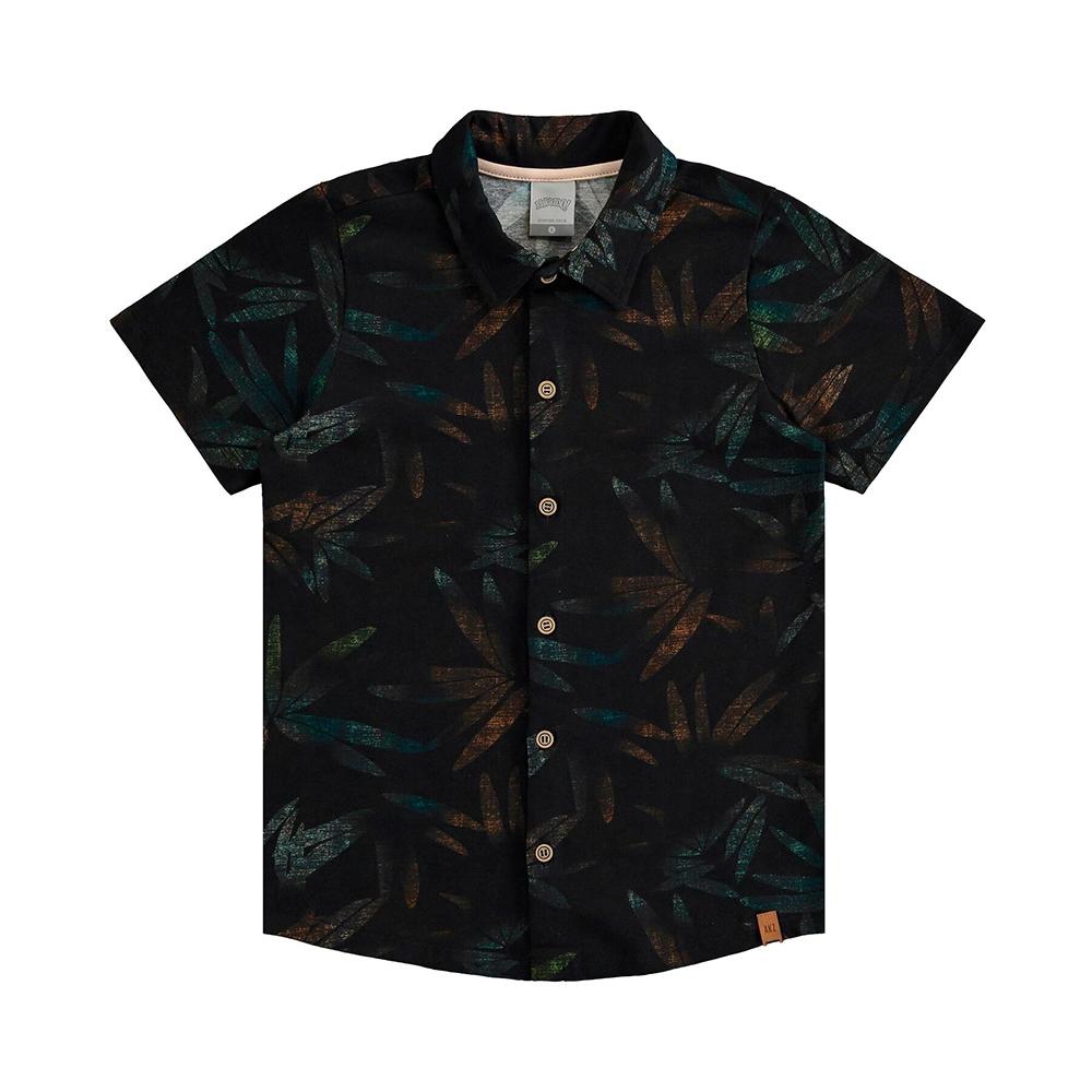 Camisa Meia Malha Folhas Urbanas Preto Reativo Alakazoo