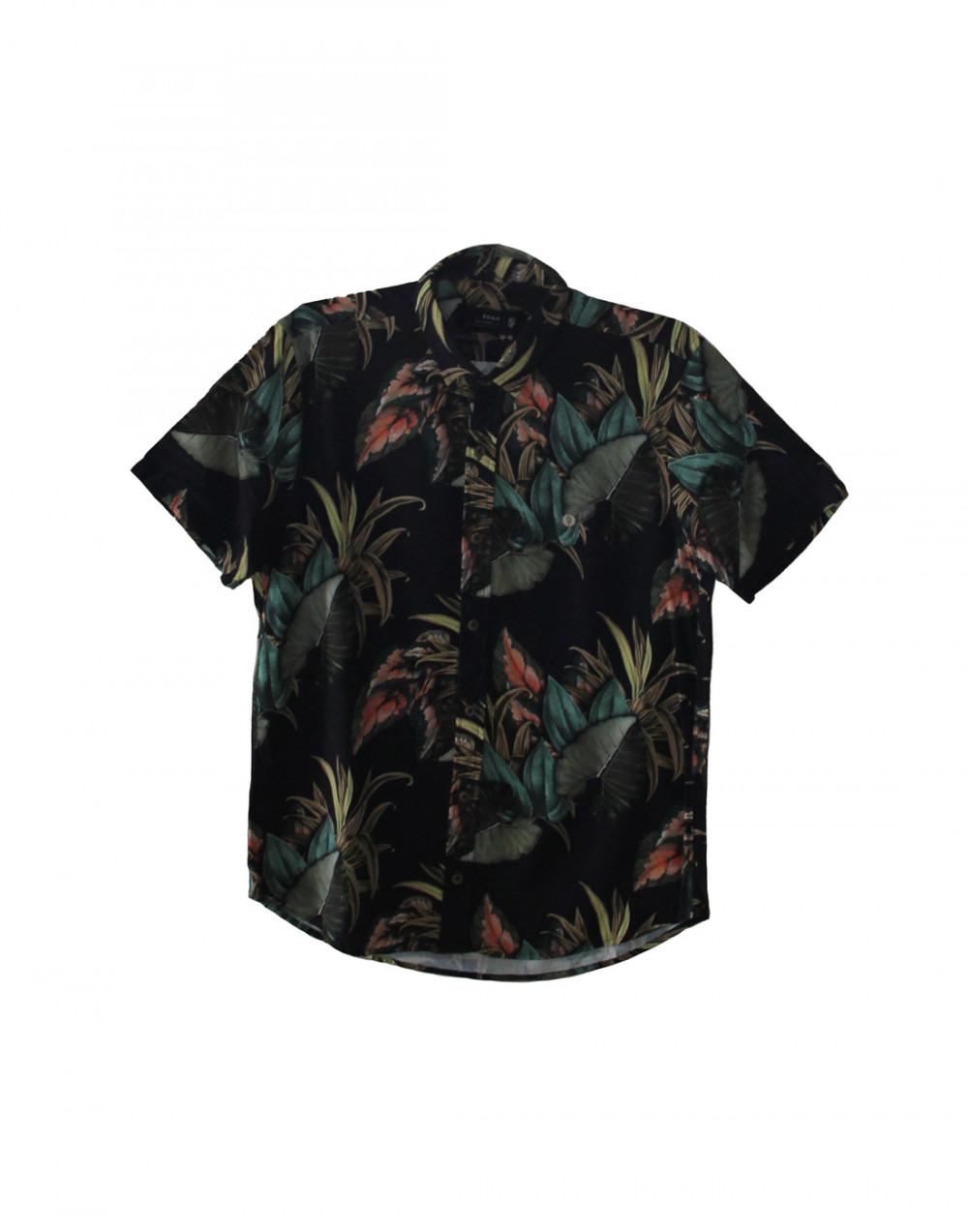 Camisa Plana Outono Estampada Preto Pena