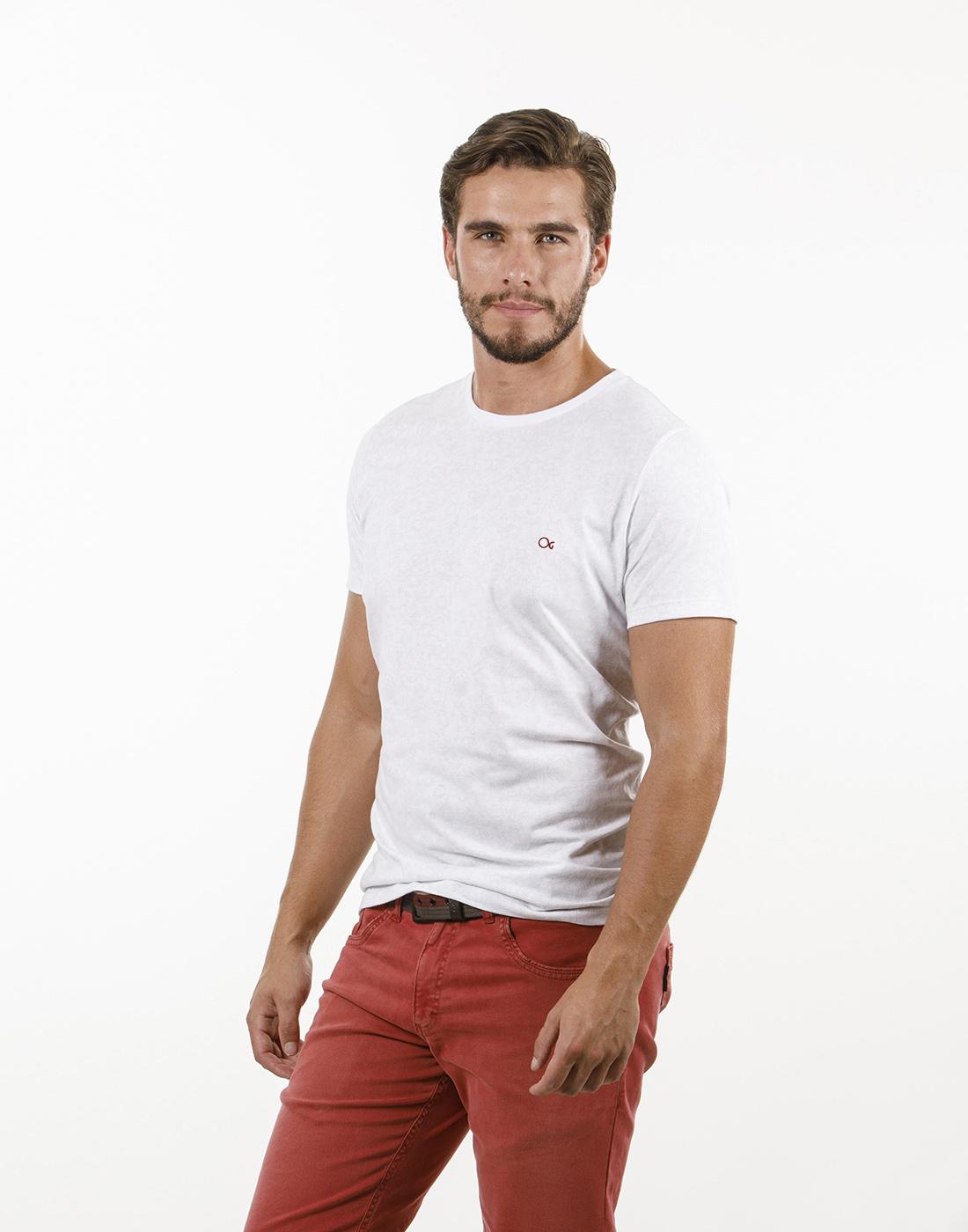 Camiseta Concept Gola O. Estampada Slim Branco Ogochi