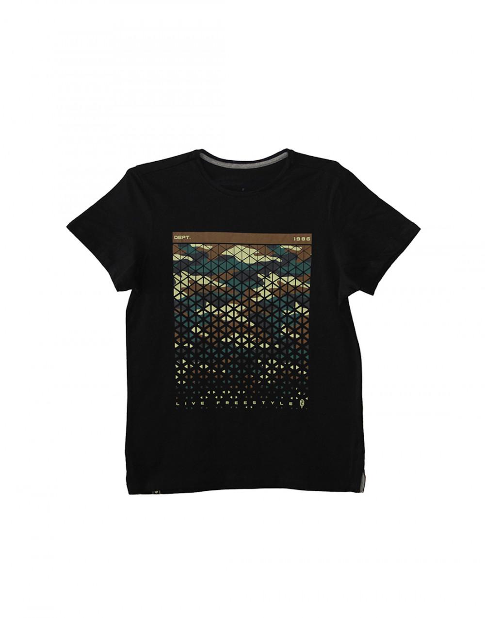 Camiseta Dif Slim Fit Camuflagem Preto Pena