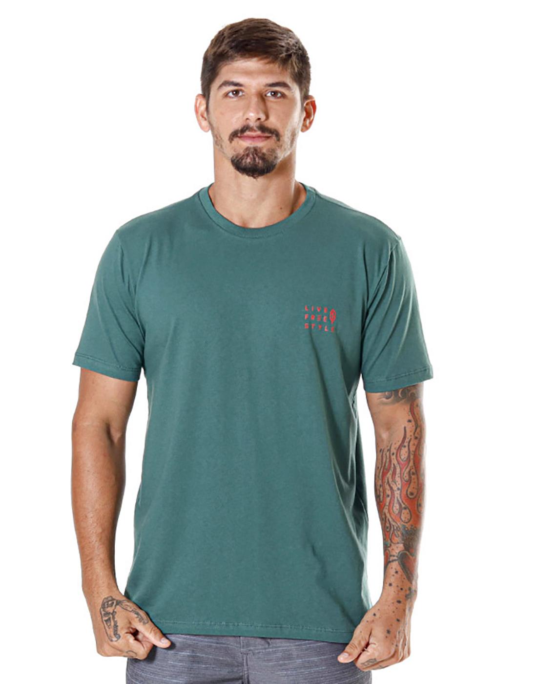 Camiseta Estampada Big Wave Verde Pena
