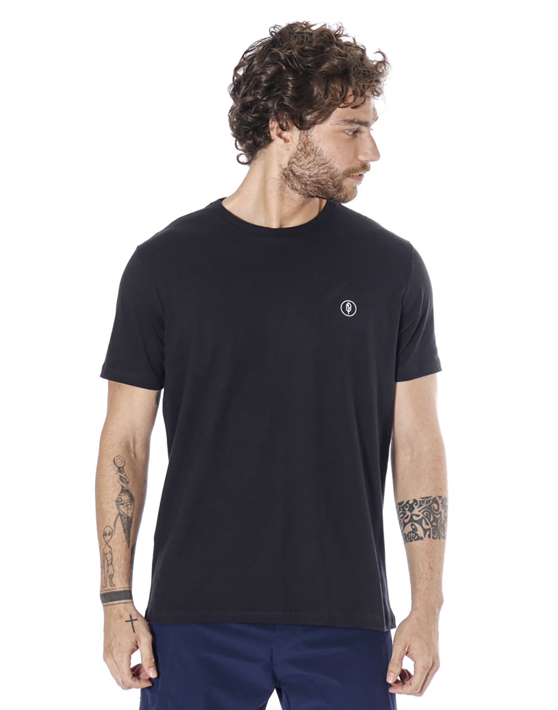 Camiseta Estampada Coqueiral Preto Pena