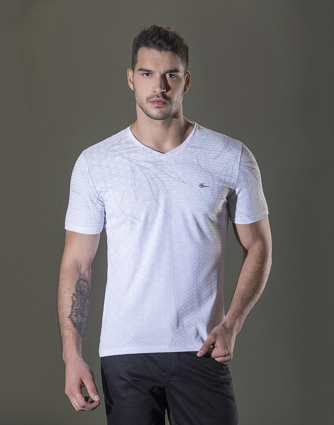 Camiseta Gola V. Estampada Branco Sallo