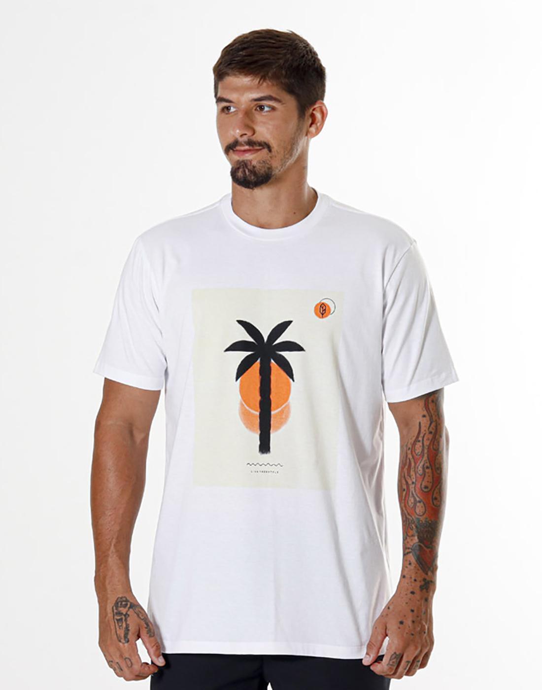 Camiseta Estampada Landscape Branca Pena