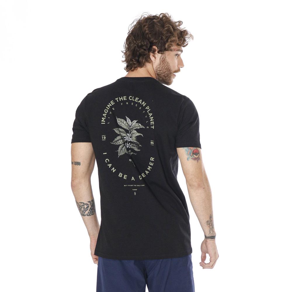 Camiseta Estampada Leaf Preto Pena
