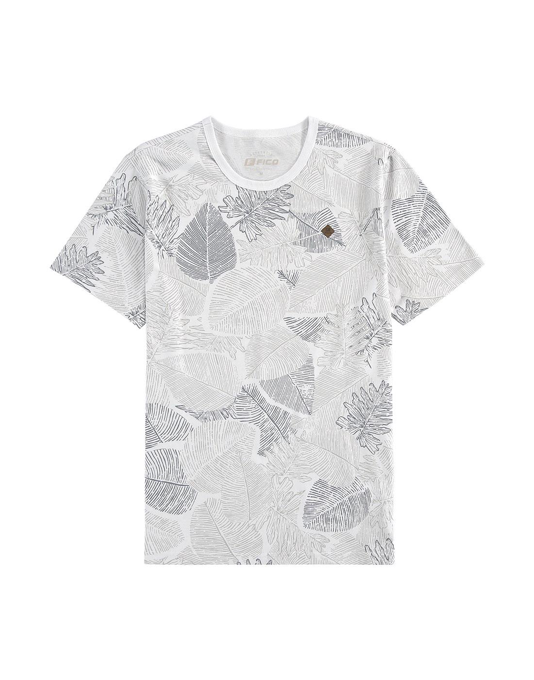 Camiseta Estampada Meia Malha Penteada Fico