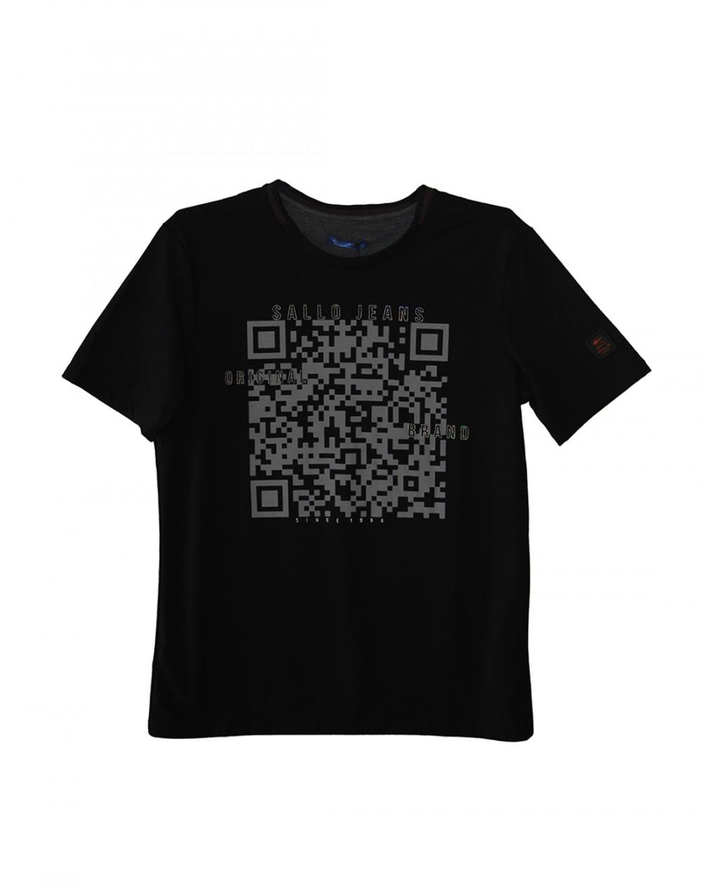 Camiseta Gola O. Estampa QR Code Preto Sallo