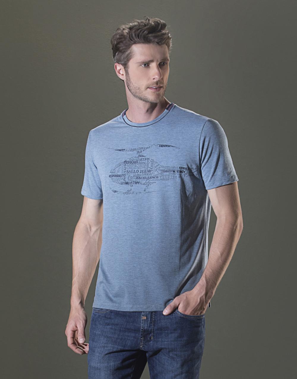 Camiseta Gola O. Estampada Azul Sallo