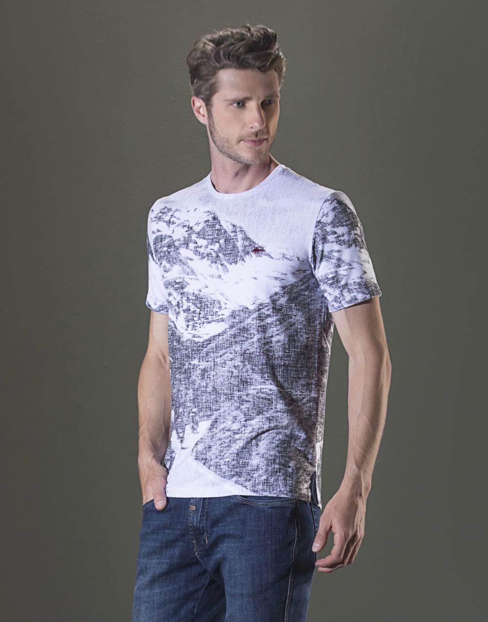 Camiseta Gola O. Estampada Branco Sallo