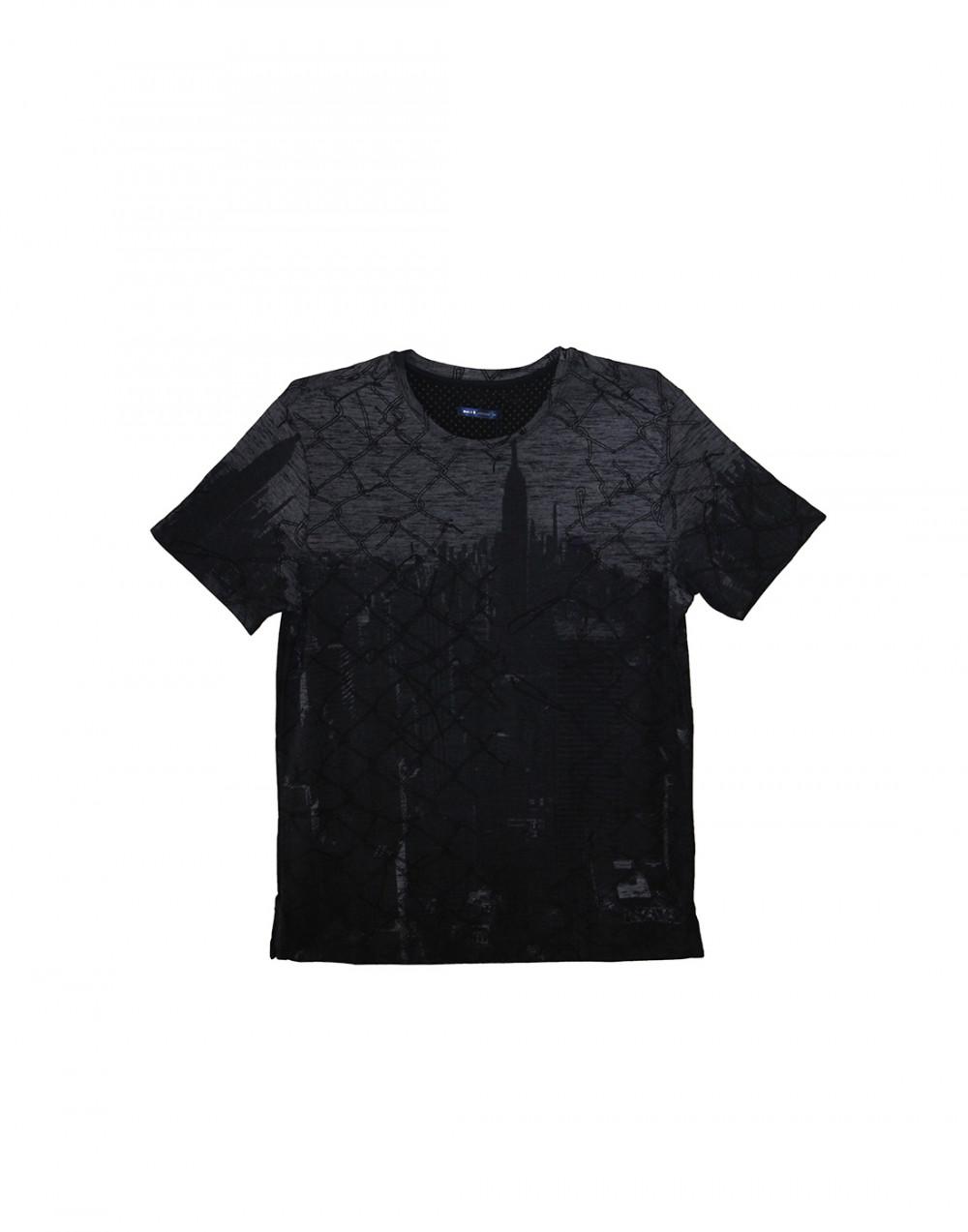 Camiseta Gola O. Estampada Marinho Sallo