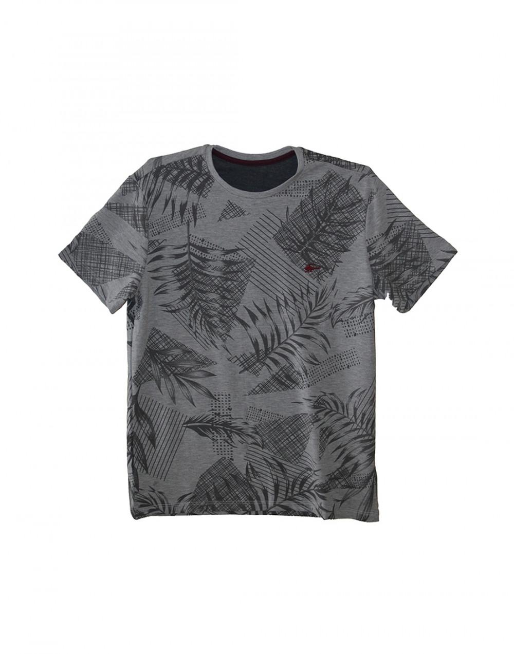 Camiseta Gola O. Estampada Mescla Sallo